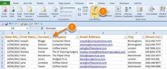 Filter in Excel 2010