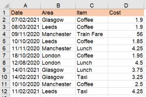 Excel expense list