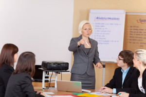 Woman giving a business presentation