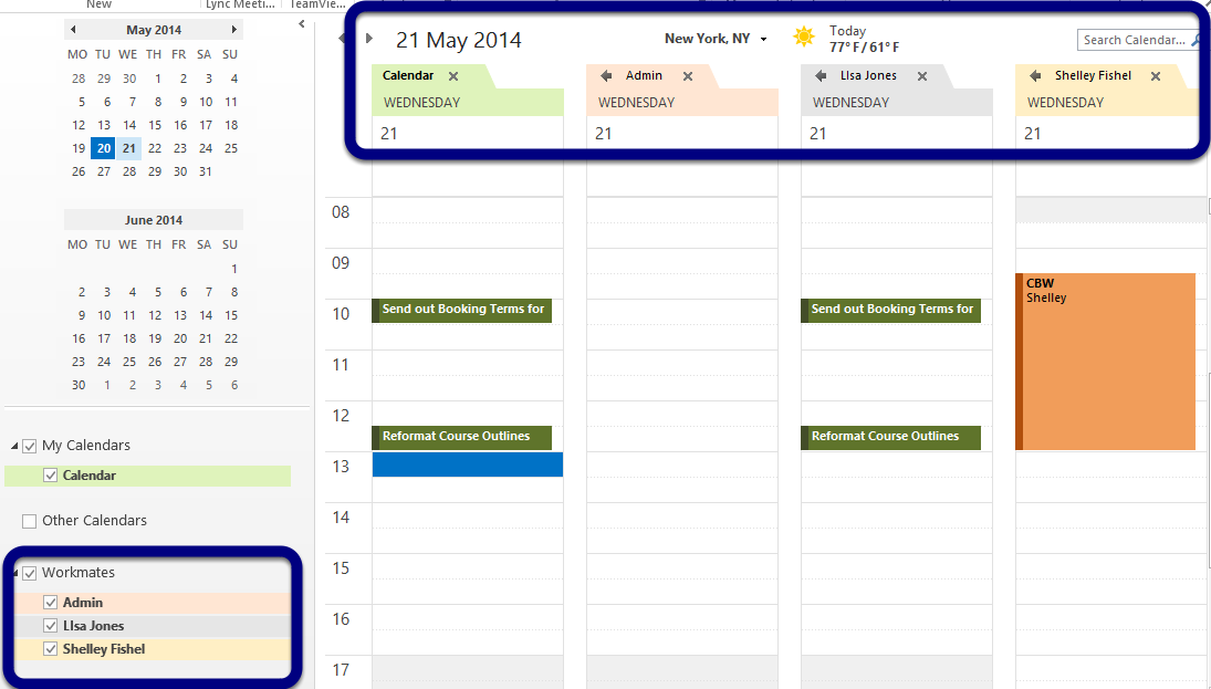 Figure – New calendar group can be opened from the navigation pane