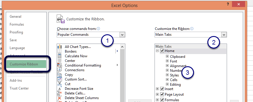 Figure - Customise the Ribbon