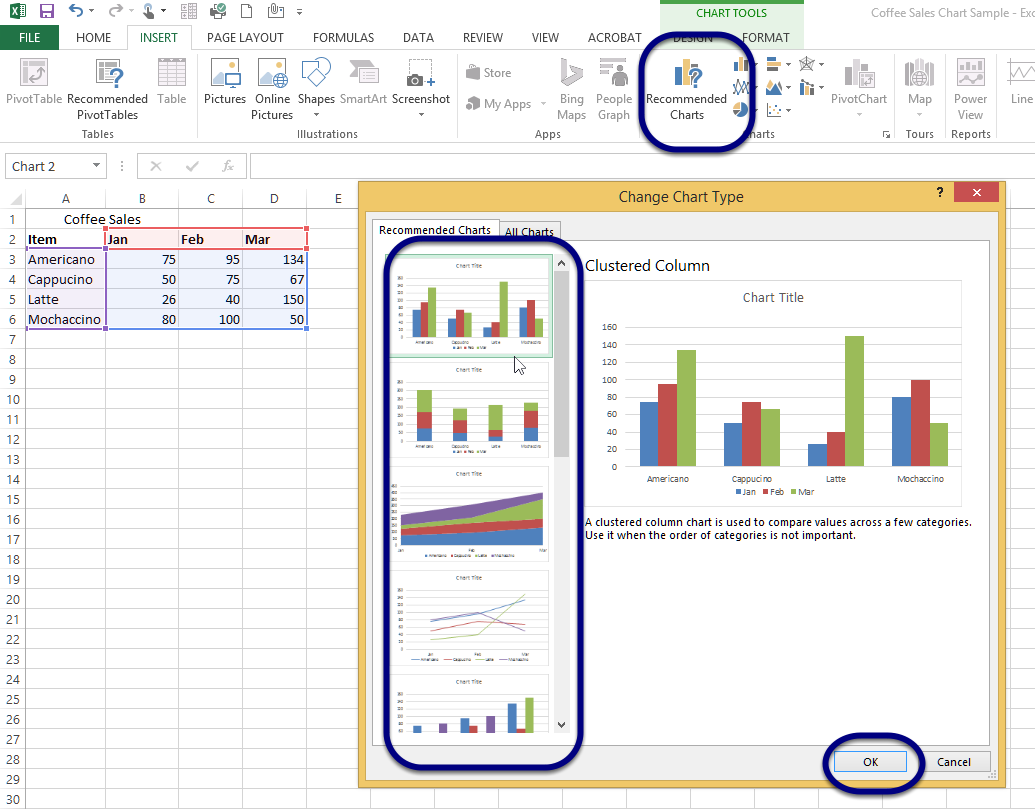 Figure - Excel will recommend charts based on your data selection