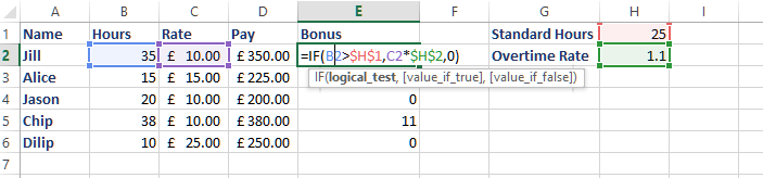 Working out the bonus amount