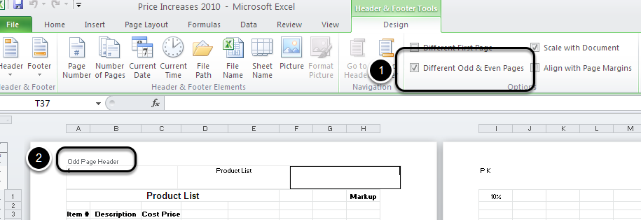 Different Headers and Footers in Microsoft Excel 2010 - The