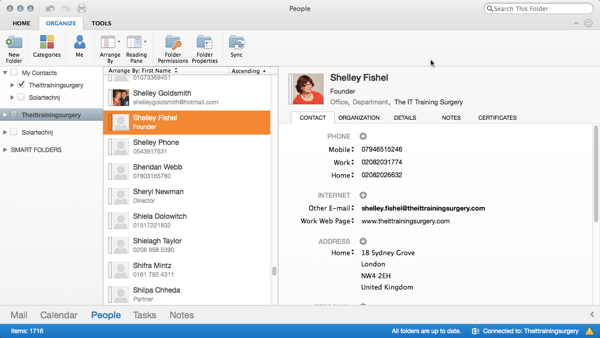 Outlook 365 for Mac People Window