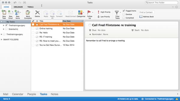 Outlook 365 for Mac Task Window