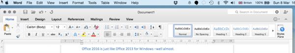 Microsoft Word 2016 Ribbon
