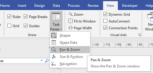 Pan and Zoom window ribbon position