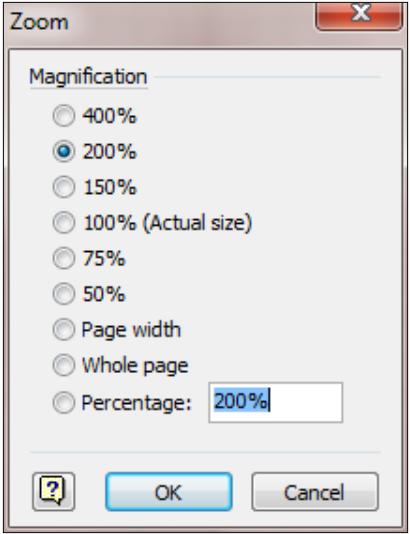 Zoom dialog box