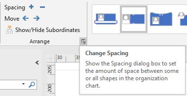 Change spacing dialog box launcher