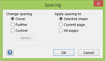 Spacing dialog box
