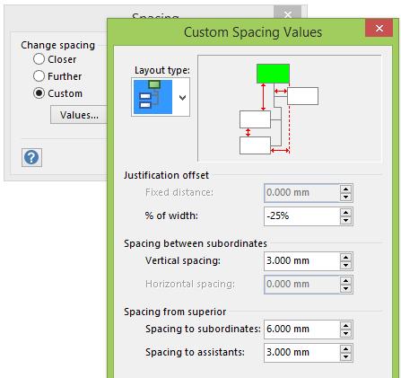 Custom spacing dialog box