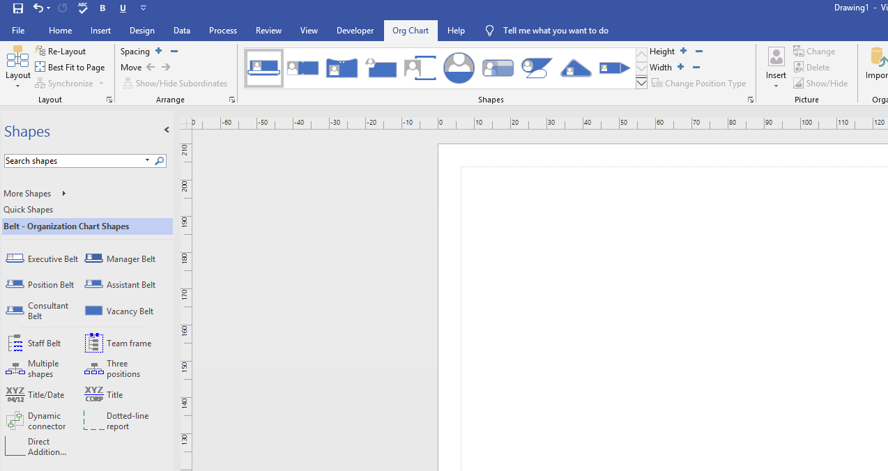 Organisation chart drawing page and menu tab